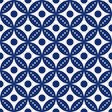 För sömlöst porslin rundan för tappning för indigoblå blått och vitsnör åt den klassiska modellvektorn vektor illustrationer