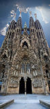 för sagrada för familia panorama- sikt vertical Arkivbild