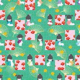 För Sakura för fyrkant för symmetri för Japan dockakanin sömlös modell stil royaltyfri illustrationer