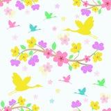 Seamless sakura blomningbakgrund Vektor Illustrationer