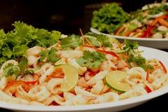 För SALLADrestaurang för THAILÄNDSK TIOARMAD BLÄCKFISK KRYDDIG kokkonst Fotografering för Bildbyråer