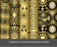 för samlingsarabesque för 6 modeller turk stock illustrationer