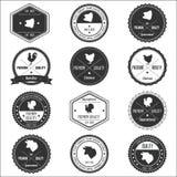 För samlingstappning för djur lantgård emblem Arkivfoto