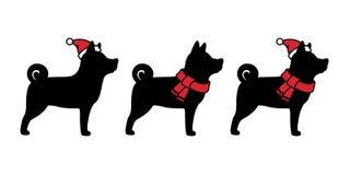 För Santa Claus för hundvektorjul svart för illustration för fransk bulldogg för logo för halsduk för hatt för Xmas för tecknad f royaltyfri illustrationer