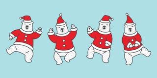 För Santa Claus för isbjörn för björnvektorjul klotter för tecken för illustration för tecknad film för nalle för logo för symbol vektor illustrationer