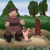 För santa för den gulliga för barndom för leendet för snö för jägaren för farfadern för gofferjakthunden för barn unga för leksak Arkivbilder