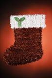 för santa för jul grön röd white strumpa Fotografering för Bildbyråer