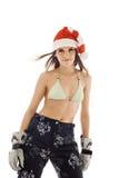 för santa för skönhetbikinihatt barn för kvinna sportswear Royaltyfria Foton