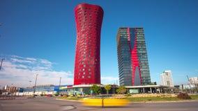 För santos för rondelldagljus för barcelona för fira porta schackningsperiod för tid hotell 4k Spanien stock video
