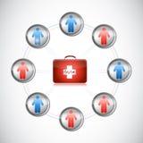 För satsfolk för läkarundersökning första illustration för nätverk Royaltyfri Bild