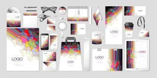 För satssamling för vektor design för våg för fastställt för företags identitet för modell för åtlöje abstrakt begrepp upp multil stock illustrationer