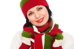för scarfsmiley för hatt nätt kvinna arkivfoton