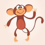För schimpansapa för tecknad film gulligt vinka Isolerad vektorillustration royaltyfria bilder