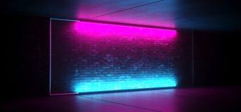 För Sci Fi för neon glödande ledd etapp futuristisk Retro klubba med den tomma tända ramen för frostat exponeringsglas för lilor  vektor illustrationer