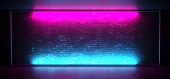 För Sci Fi för neon glödande ledd etapp futuristisk Retro klubba med den tomma tända ramen för frostat exponeringsglas för lilor  royaltyfri illustrationer