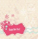 för scrapbookvektor för kort nytt år Royaltyfri Bild