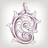För scrolldesign för tappning barock blom- vektor royaltyfri illustrationer