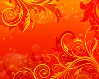 för scrollvektor för bakgrund blom- röd tappning Royaltyfri Bild