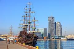 för seglingship för liggande 3d solnedgång Fotografering för Bildbyråer