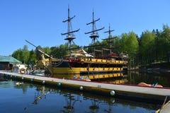 för seglingship för liggande 3d solnedgång Royaltyfri Fotografi