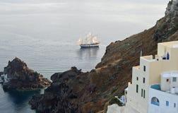 för seglingship för liggande 3d solnedgång Arkivfoton