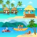 För semesterortaktivitet för plan stil tropisk uppsättning för bild för hjälte för baner för website Royaltyfria Bilder