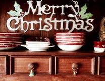 För serveringsbordskänk för glad jul retro bakgrund Arkivbilder