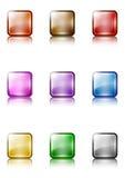 för setmallar för knapp färgrik rengöringsduk Arkivfoton