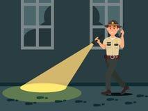 För sheriffpolis för stad manligt tecken i officiell likformig med ficklampan som söker på den mörka vektorillustrationen stock illustrationer