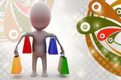 för shoppingpåsar för man 3d illustration Royaltyfri Bild