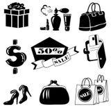 För shoppingsymbol för vektor svart uppsättning på vit Royaltyfria Foton