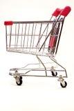 för shoppingtrolley för 6 bakgrund white Arkivbilder