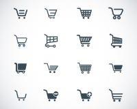 För shoppingvagn för vektor svarta symboler Royaltyfria Bilder