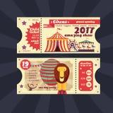 För showbiljett för cirkus magisk design för tappning för vektor stock illustrationer