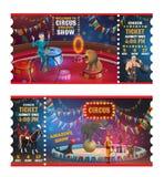 För showbiljetter för cirkus magiska biljetter för tecknad film stock illustrationer
