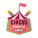 För showlogo för cirkus som fantastisk etikett isoleras på vit stock illustrationer