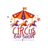 För showlogoen för cirkusen kan den stora designen, karnevalet som är festlig, showetiketten, emblemet, designbeståndsdel med kar royaltyfri illustrationer