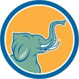 För sidocirkel för elefant Head tecknad film Royaltyfri Bild