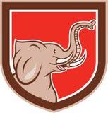 För sidosköld för elefant Head tecknad film Fotografering för Bildbyråer