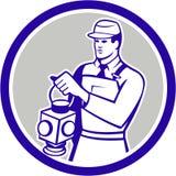 För signalistlampa för drev Retro järnväg cirkel Arkivfoto