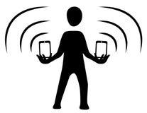 För signalkontur för telefon dubbelt symbol stock illustrationer