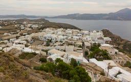 by för sikt för greece milosplaka Arkivfoto