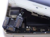 För siktsströmkrets för slut bruten skärm för övre telefon smart, begrepp smart p Royaltyfria Foton