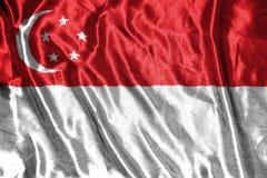 för singapore för tillgänglig flagga glass vektor stil flagga på bakgrund Arkivbilder