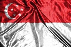 för singapore för tillgänglig flagga glass vektor stil flagga på bakgrund Royaltyfri Fotografi
