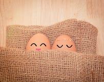 För sinnesrörelsetappning för bruna ägg förälskad signal Arkivfoton