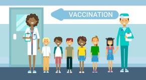 För sjukdomförhindrande för doktor Vaccination Of Children baner för medicin för service för sjukhus för hälsovård för immuniseri royaltyfri illustrationer