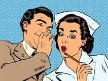 För sjuksköterska- och manskvaller för diagnos tålmodig överraskning royaltyfri illustrationer