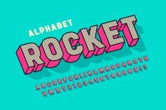 För skärmstilsort för komiker 3d design, alfabet, bokstäver och nummer royaltyfri illustrationer