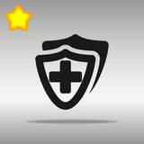 För sköldsymbol för vektor medicinsk läkarundersökning för kors för hälsa för lägenhet för sköld Royaltyfri Bild